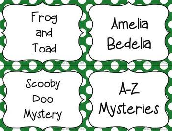 Book Bin Labels~Editable (primary polka-dots)