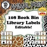 Book Bin / Library Labels  - Animal Print - ZisforZebra - Editable!