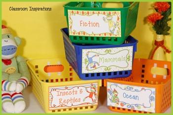 Book Bin Multipurpose Editable Labels - Coordinates with Sock Monkey Class Theme