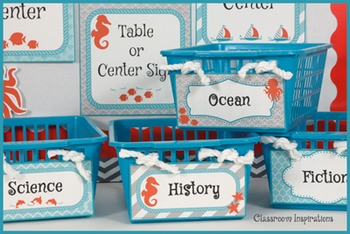 Book Bin Multipurpose Editable Labels - Nautical by the Sea Classroom Theme