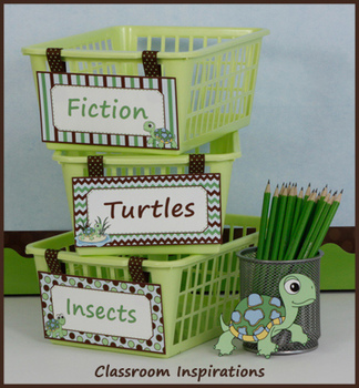Book Bin Multipurpose Editable Labels - Turtle Time Classroom Theme