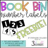 Book Bin Number Labels 1-50