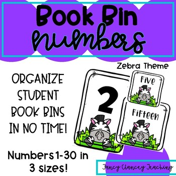 Book Bin Numbers for Student Bins (Zebra Theme)