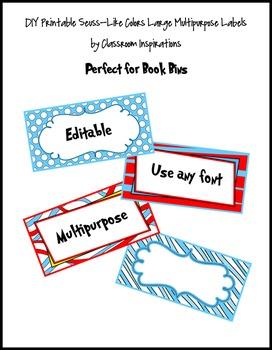 Book Bin Rectangle Labels – Coordinates with Seuss-like Colors Classroom Theme