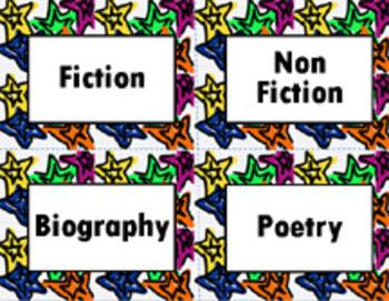 Book Bin/Shelf Organizer Cards by Genre for Any Grade (star)