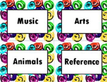 Book Bin/Shelf Organizer Cards by Genre for Any Grade (swirl)