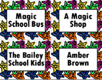 Book Bin/Shelf Organizer Cards by Series for Grades 3-5 (star)