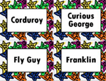 Book Bin/Shelf Organizer Cards by Series for Grades K-2 (star)