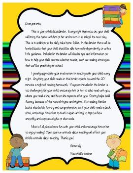 Book Binder Letter to Parents