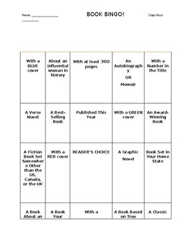 Book Bingo! and Reading Log