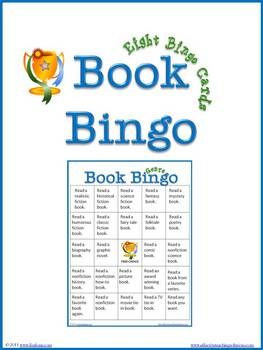 Book Bingo, 8 Bingo Cards, Reading Log, & Book Bingo Coupons