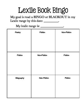Book Bingo Boards for Lexile and Genre