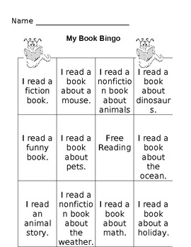 Book Bingo Card-Indpendent Reading