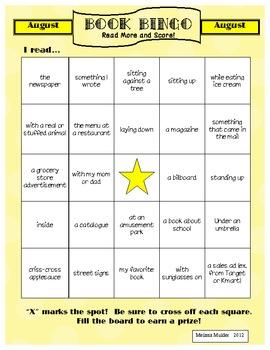 Book Bingo Monthly Homework