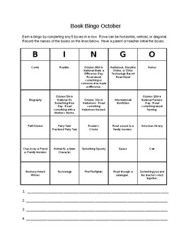 Book Bingo October