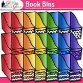 Book Bins Clip Art | Rainbow Baskets for Classroom Library Resources