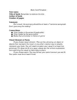 Book Bistro Instructions/Template/Example
