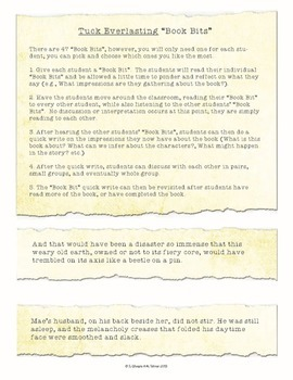 """Book Bits"": a Fun Pre-reading Activity for Tuck Everlasting"