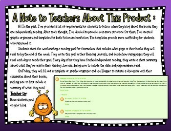 Book Blog Reading Response Graphic Organizers and Templates