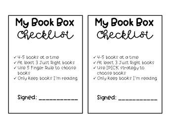 Book Box Checklist