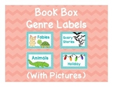 Book Box Genre Labels with Pictures for Classroom Library