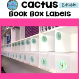Book Box Labels Editable Cactus Themed - Cactus Classroom Decor