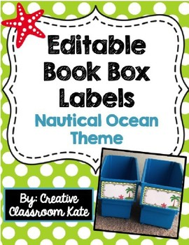 Book Box Labels Nautical Ocean Theme {Editable}