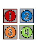 Book Box Labels Numbered 1-32 Numbers Colored, Black and W