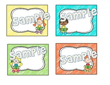 Book Box Labels Reading Kids with Bright Scribbles Background