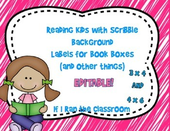 Book Box Labels Reading Kids with Bright Scribbles Backgro