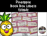 Book Box Labels in Pineapple Theme EDITABLE