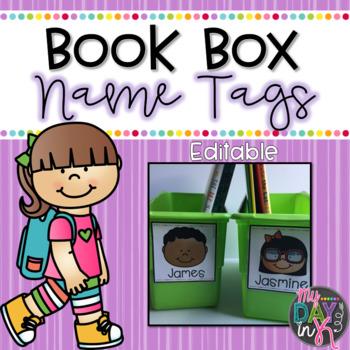 Book Box Name Tags Editable