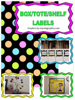Book Box, Tote, Bin, Shelf Labels - Polka dots, Bright colors, Speech Room Theme