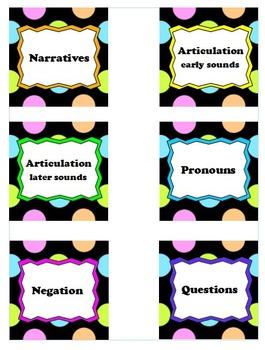 Book Box, Tote, Bin, Shelf Labels - Polka dots, Bright colors, Speech Room Theme