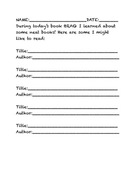 Book Brag List