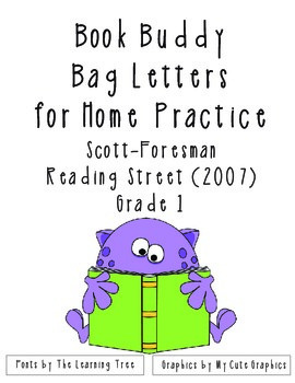 Book Buddy Bag Letters For Home Fluency Practice - Reading Street 2007 Grade 1