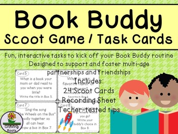 Book Buddy Get to Know You Game Task Cards Scoot Game