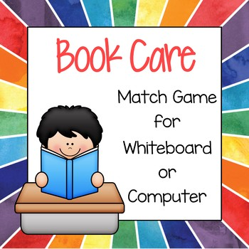 Book Care Match Game for Interactive Whiteboard or Computer