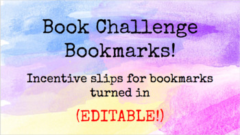 Book Challenge Bookmarks and Incentives