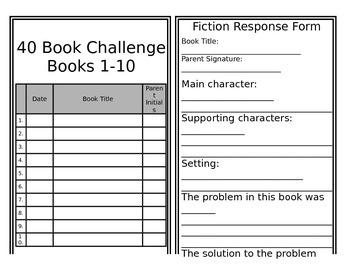 Book Challenge - Reader response booklet
