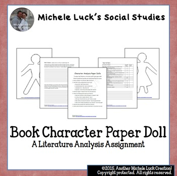 Book Character Analysis Paper Doll Assignment By Michele Luck'S