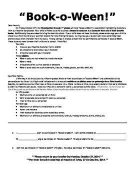 Book Character Dress Day Send Home Flier (English/Spanish)