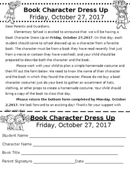Book Character Dress Up Home Letter