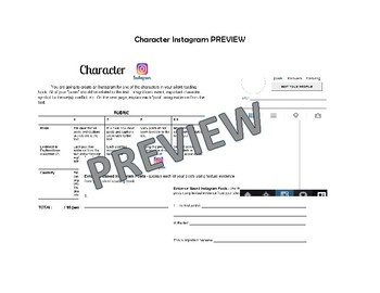 Book Character Instagram Project