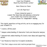 Book Character Poem Digital Writing Activity