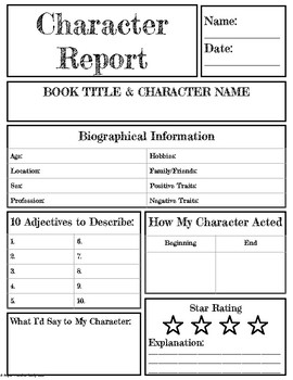 Book Character Report Template