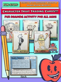 Book Character Trading Cards   (Character Trait Trading Cards) FUN