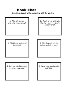 Book Chat Comprehension Questions