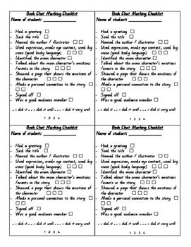 Book Chat Marking Checklist