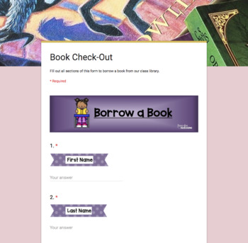 Book Check-Out Form for use with Google Forms